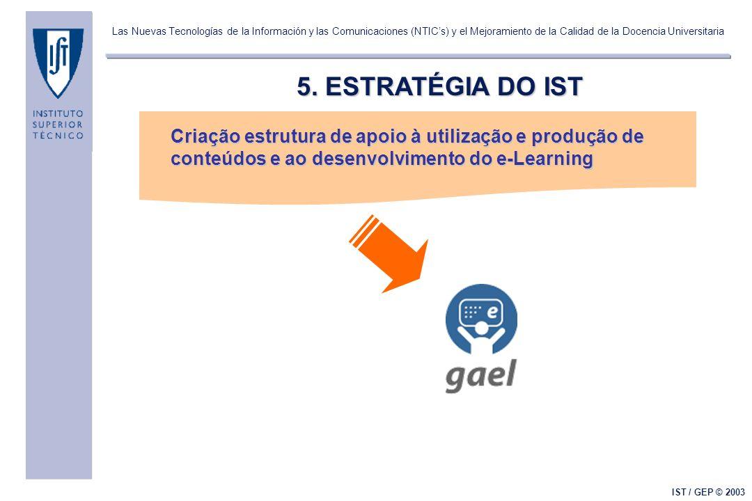 Las Nuevas Tecnologías de la Información y las Comunicaciones (NTICs) y el Mejoramiento de la Calidad de la Docencia Universitaria IST / GEP © 2003 5.