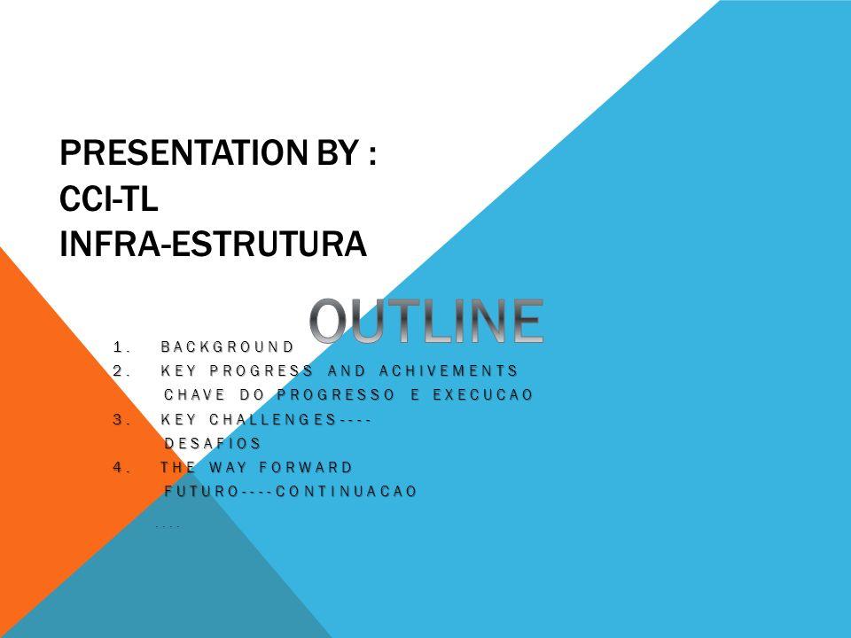 PRESENTATION BY : CCI-TL INFRA-ESTRUTURA 1.BACKGROUND 2.KEY PROGRESS AND ACHIVEMENTS CHAVE DO PROGRESSO E EXECUCAO CHAVE DO PROGRESSO E EXECUCAO 3.
