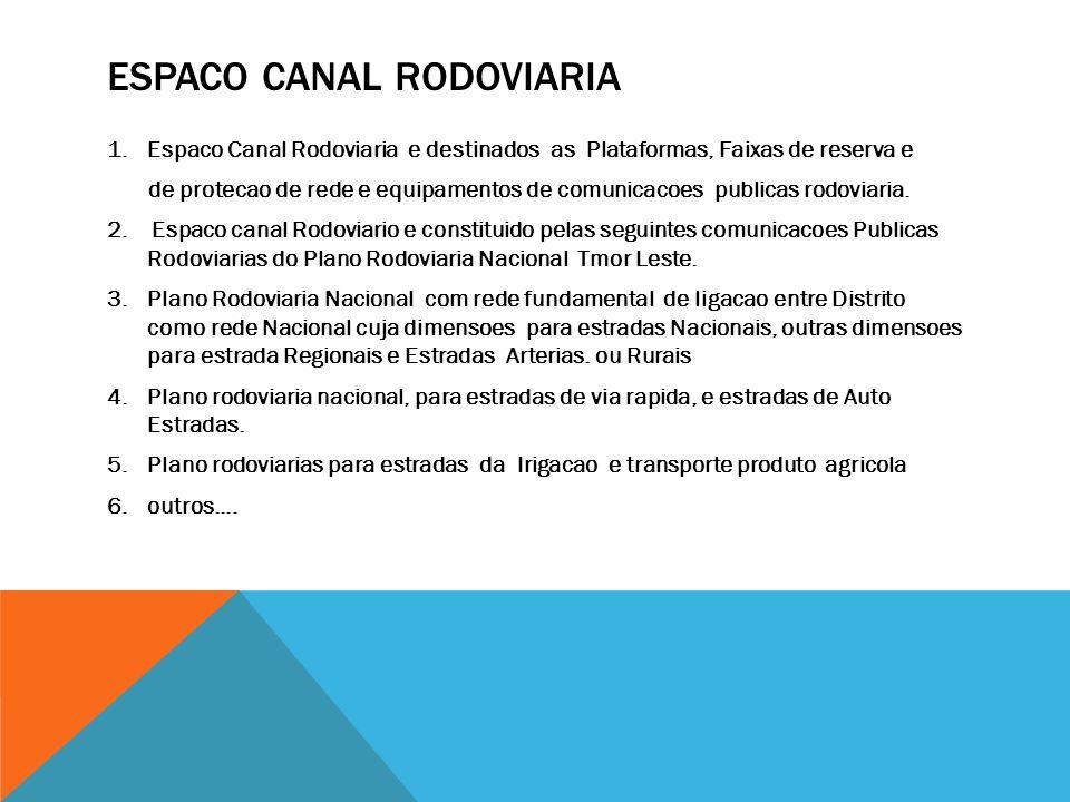ESPACO CANAL RODOVIARIA 1.Espaco Canal Rodoviaria e destinados as Plataformas, Faixas de reserva e de protecao de rede e equipamentos de comunicacoes publicas rodoviaria.