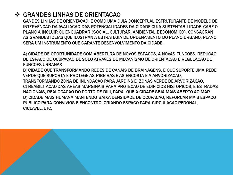 GRANDES LINHAS DE ORIENTACAO GANDES LINHAS DE ORIENTACAO, E COMO UMA GUIA CONCEPTUAL ESTRUTURANTE DE MODELO DE INTERVENCAO DA AVALIACAO DAS POTENCIALIDADES DA CIDADE CUJA SUSTENTABILIDADE CABE O PLANO A INCLUIR OU ENQUADRAR (SOCIAL, CULTURAR, AMBIENTAL,E ECONOMICO).