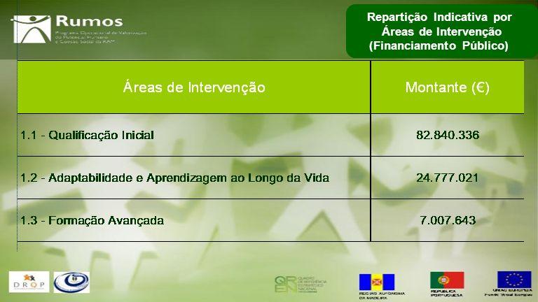 Repartição Indicativa por Áreas de Intervenção (Financiamento Público)