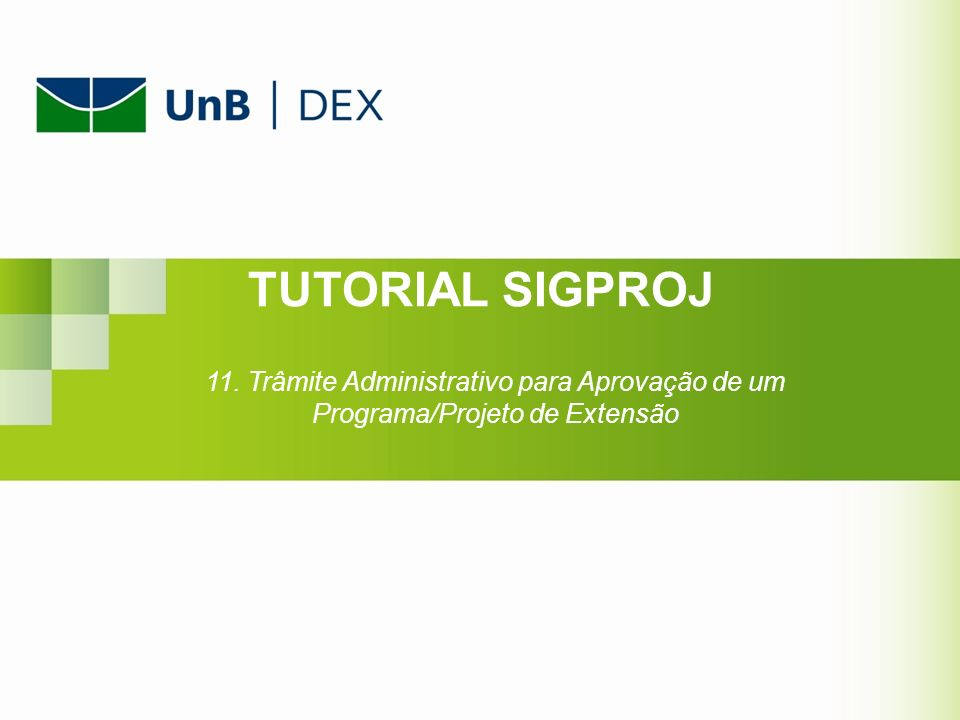 TUTORIAL SIGPROJ 11. Trâmite Administrativo para Aprovação de um Programa/Projeto de Extensão