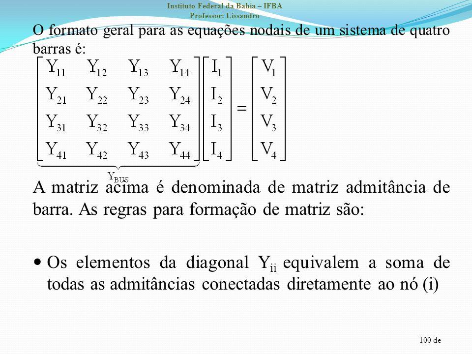 100 de Instituto Federal da Bahia – IFBA Professor: Lissandro O formato geral para as equações nodais de um sistema de quatro barras é: A matriz acima