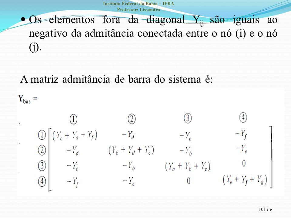 101 de Instituto Federal da Bahia – IFBA Professor: Lissandro Os elementos fora da diagonal Y ij são iguais ao negativo da admitância conectada entre
