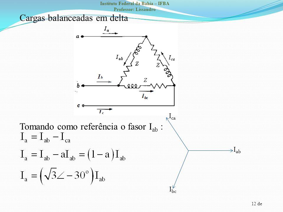12 de Instituto Federal da Bahia – IFBA Professor: Lissandro Cargas balanceadas em delta Tomando como referência o fasor I ab : I ab I bc I ca