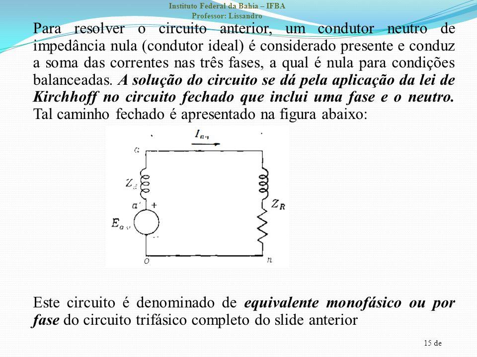 15 de Instituto Federal da Bahia – IFBA Professor: Lissandro Para resolver o circuito anterior, um condutor neutro de impedância nula (condutor ideal)