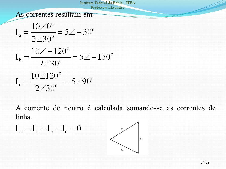 24 de Instituto Federal da Bahia – IFBA Professor: Lissandro As correntes resultam em: A corrente de neutro é calculada somando-se as correntes de lin