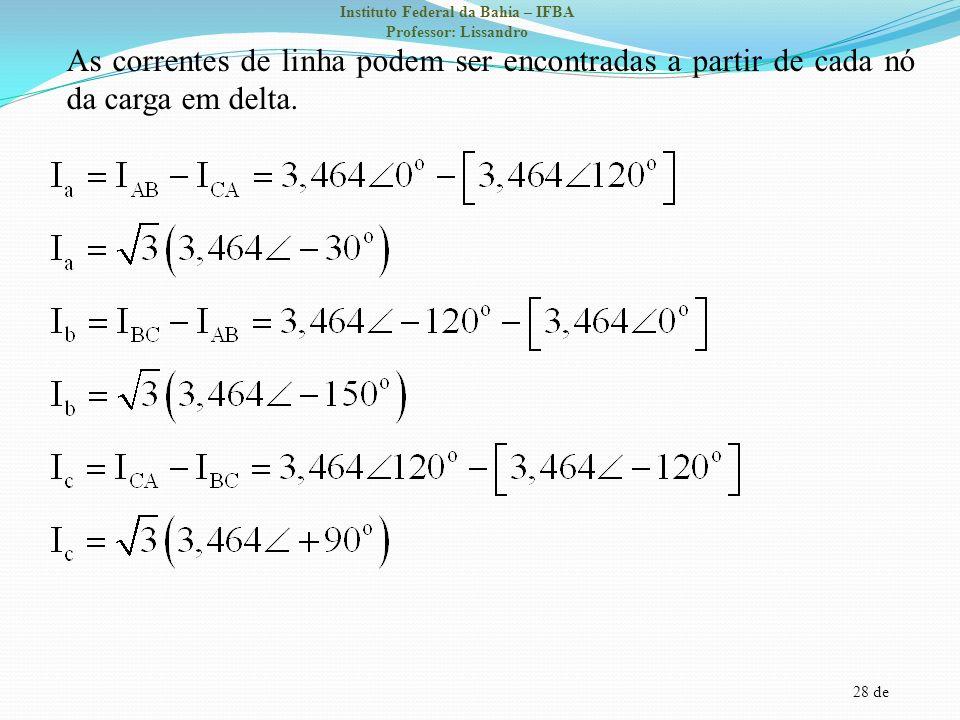 28 de Instituto Federal da Bahia – IFBA Professor: Lissandro As correntes de linha podem ser encontradas a partir de cada nó da carga em delta.