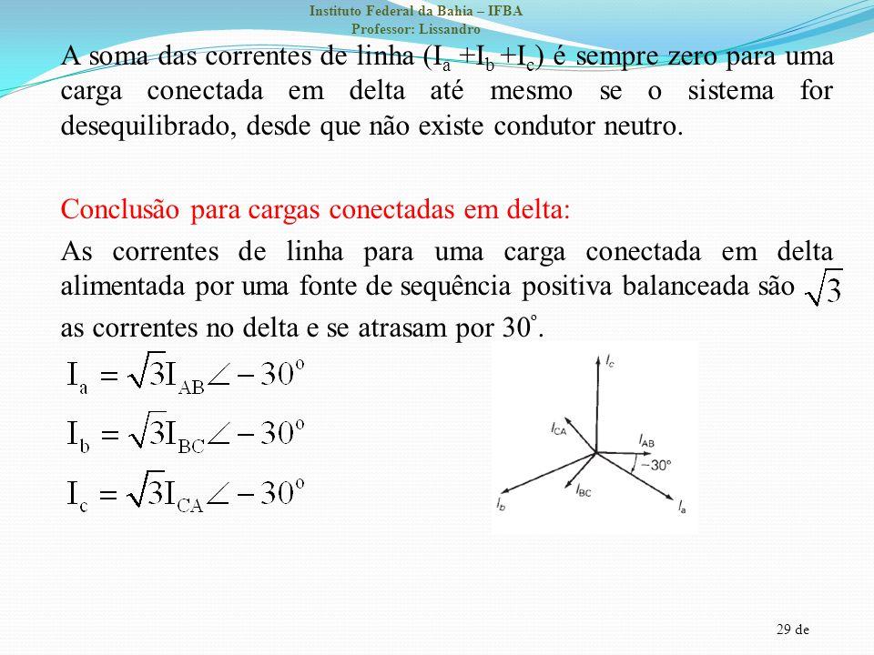 29 de Instituto Federal da Bahia – IFBA Professor: Lissandro A soma das correntes de linha (I a +I b +I c ) é sempre zero para uma carga conectada em