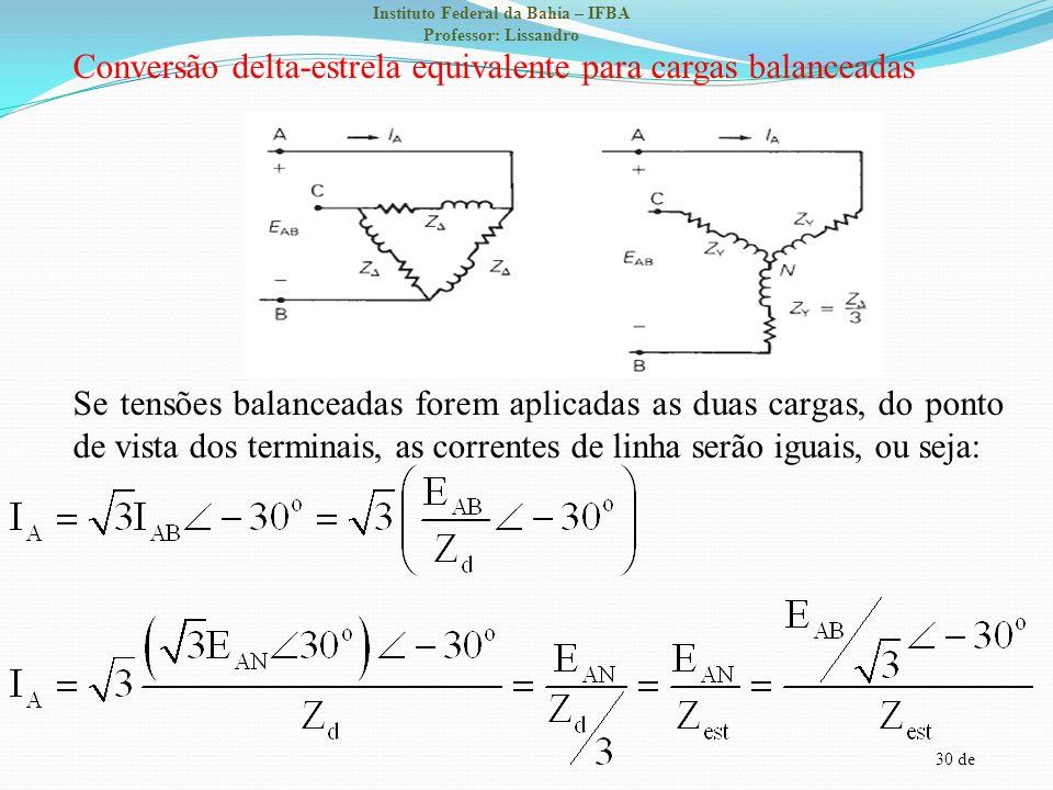 30 de Instituto Federal da Bahia – IFBA Professor: Lissandro Conversão delta-estrela equivalente para cargas balanceadas Se tensões balanceadas forem