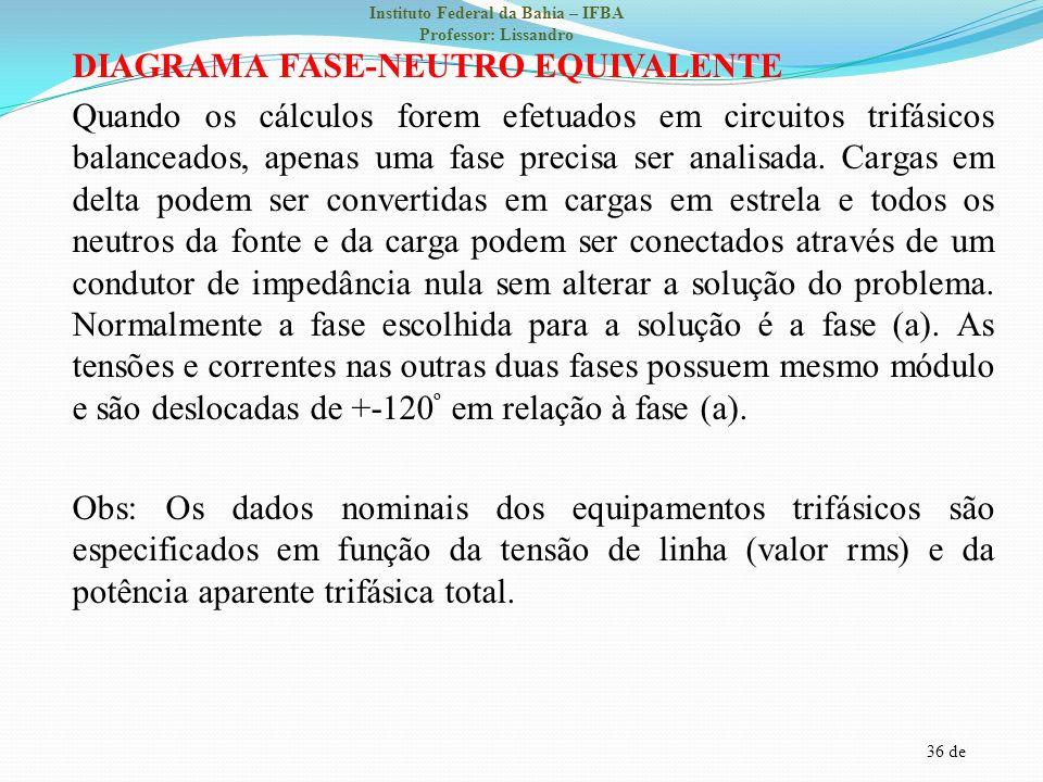 36 de Instituto Federal da Bahia – IFBA Professor: Lissandro DIAGRAMA FASE-NEUTRO EQUIVALENTE Quando os cálculos forem efetuados em circuitos trifásic