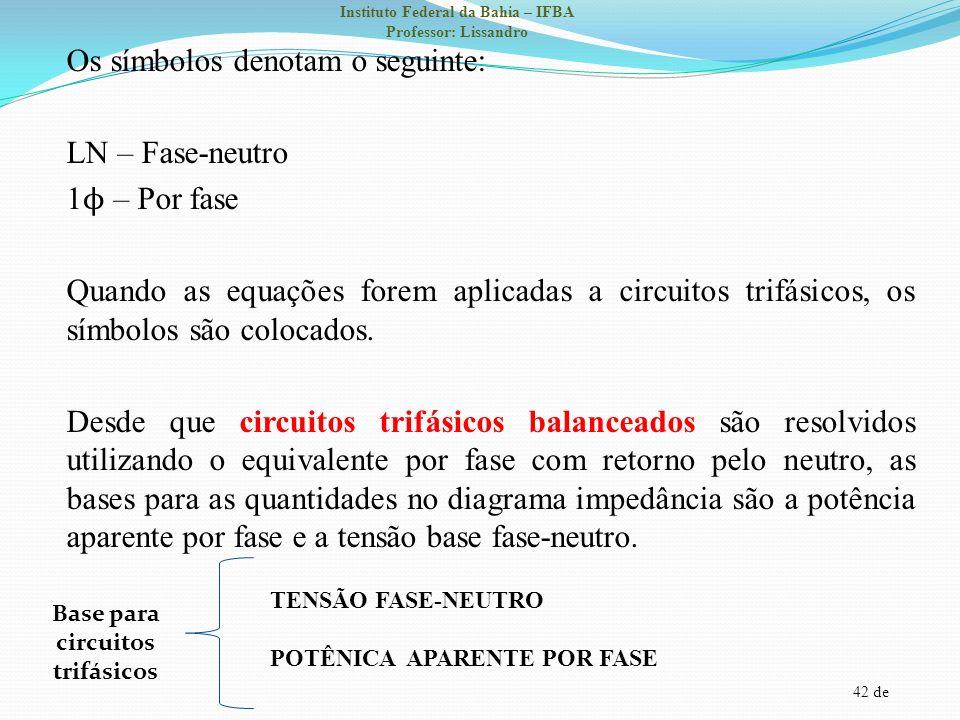 42 de Instituto Federal da Bahia – IFBA Professor: Lissandro Os símbolos denotam o seguinte: LN – Fase-neutro 1 ϕ – Por fase Quando as equações forem