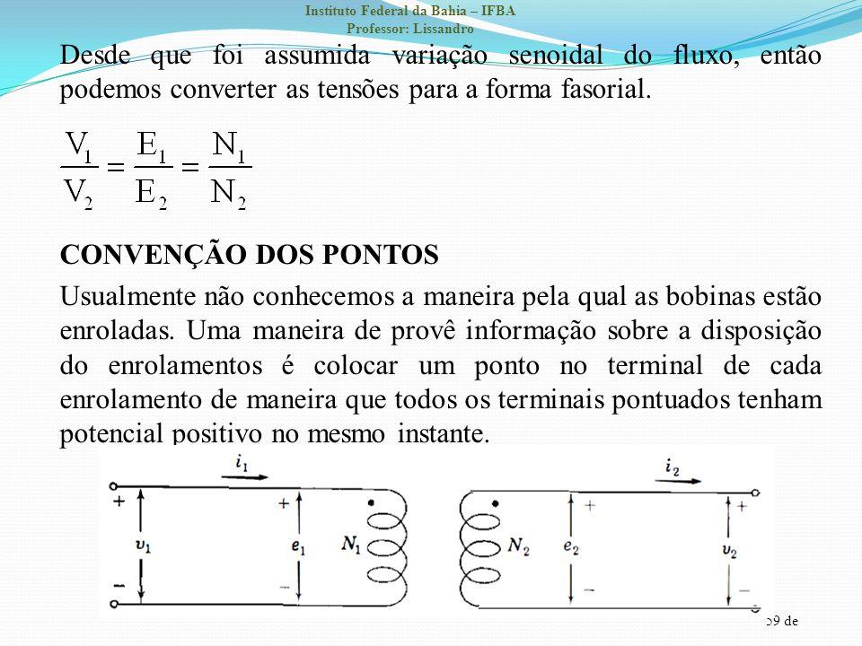 59 de Instituto Federal da Bahia – IFBA Professor: Lissandro Desde que foi assumida variação senoidal do fluxo, então podemos converter as tensões par