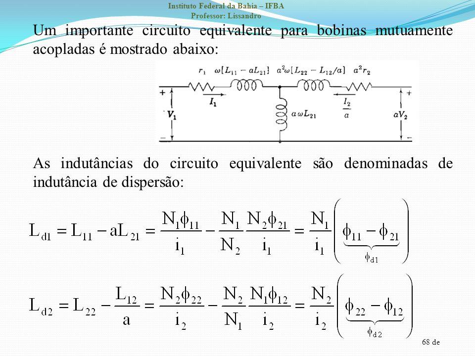 68 de Instituto Federal da Bahia – IFBA Professor: Lissandro Um importante circuito equivalente para bobinas mutuamente acopladas é mostrado abaixo: A