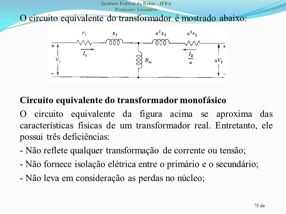 70 de Instituto Federal da Bahia – IFBA Professor: Lissandro O circuito equivalente do transformador é mostrado abaixo: Circuito equivalente do transf