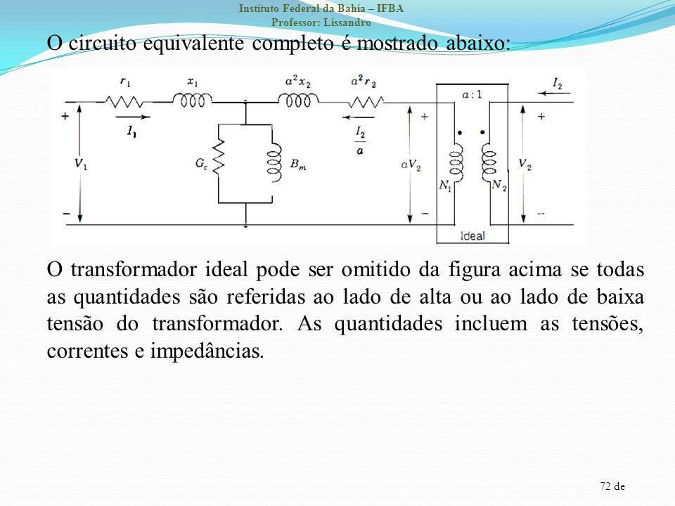 72 de Instituto Federal da Bahia – IFBA Professor: Lissandro O circuito equivalente completo é mostrado abaixo: O transformador ideal pode ser omitido