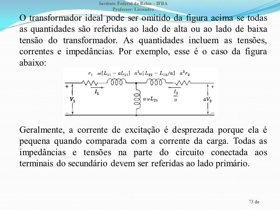 73 de Instituto Federal da Bahia – IFBA Professor: Lissandro O transformador ideal pode ser omitido da figura acima se todas as quantidades são referi