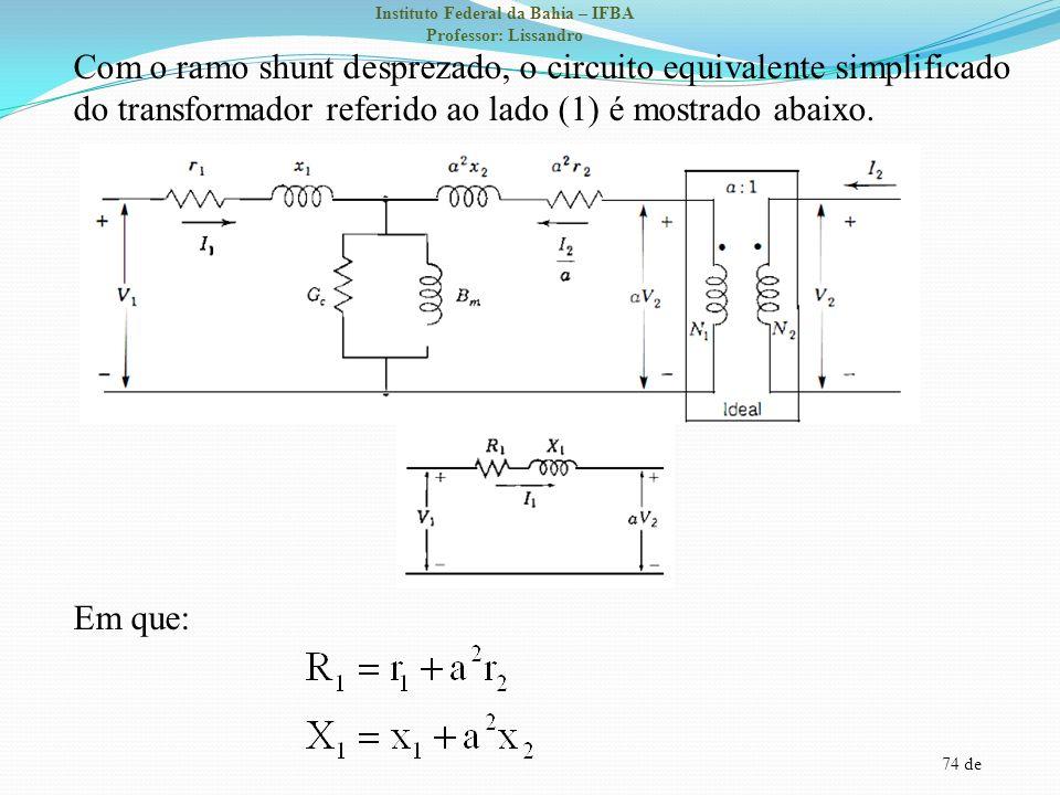 74 de Instituto Federal da Bahia – IFBA Professor: Lissandro Com o ramo shunt desprezado, o circuito equivalente simplificado do transformador referid