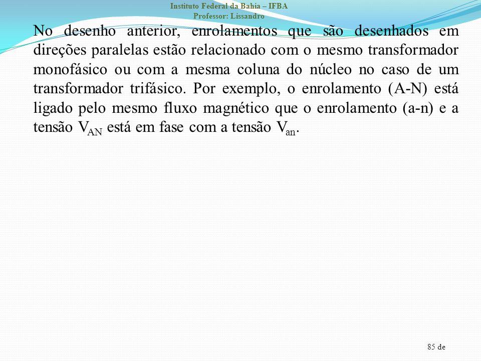 85 de Instituto Federal da Bahia – IFBA Professor: Lissandro No desenho anterior, enrolamentos que são desenhados em direções paralelas estão relacion