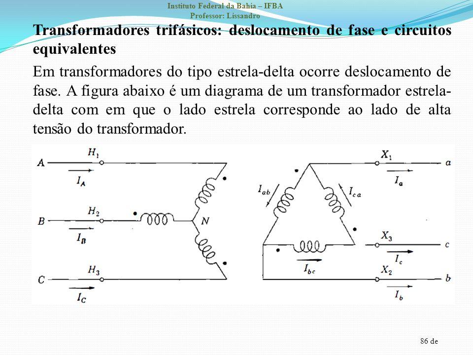 86 de Instituto Federal da Bahia – IFBA Professor: Lissandro Transformadores trifásicos: deslocamento de fase e circuitos equivalentes Em transformado