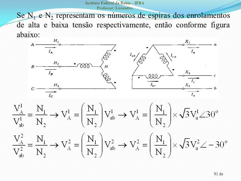 91 de Instituto Federal da Bahia – IFBA Professor: Lissandro Se N 1 e N 2 representam os números de espiras dos enrolamentos de alta e baixa tensão re
