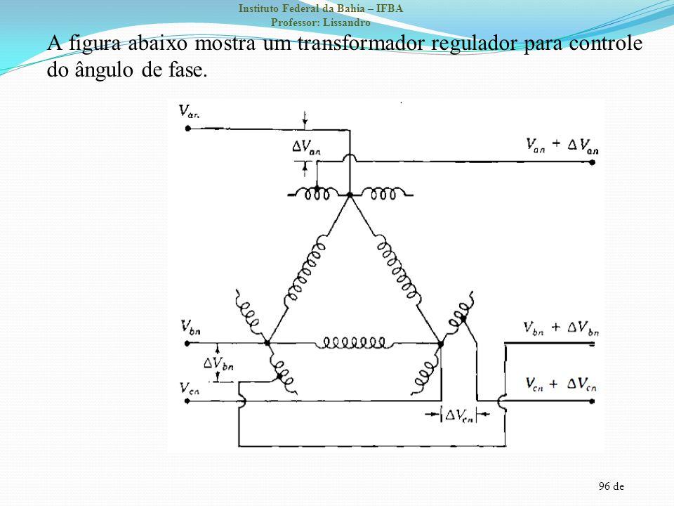 96 de Instituto Federal da Bahia – IFBA Professor: Lissandro A figura abaixo mostra um transformador regulador para controle do ângulo de fase.