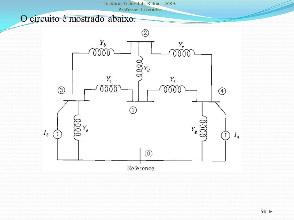 98 de Instituto Federal da Bahia – IFBA Professor: Lissandro O circuito é mostrado abaixo.