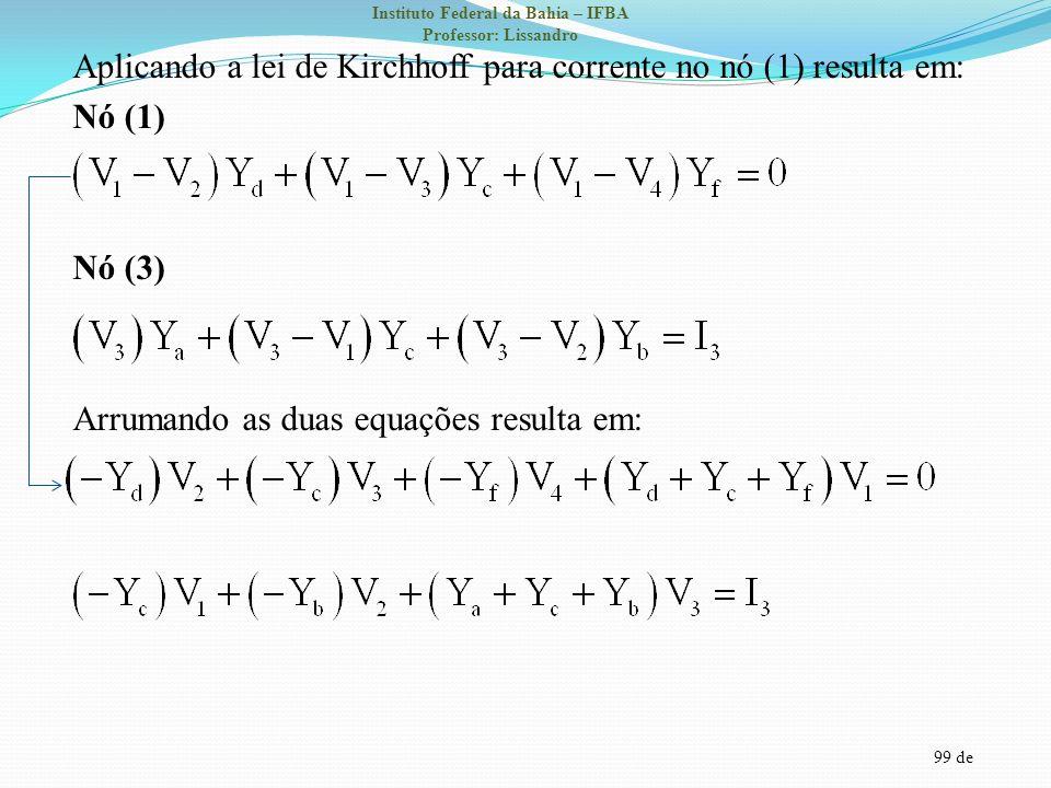 99 de Instituto Federal da Bahia – IFBA Professor: Lissandro Aplicando a lei de Kirchhoff para corrente no nó (1) resulta em: Nó (1) Nó (3) Arrumando