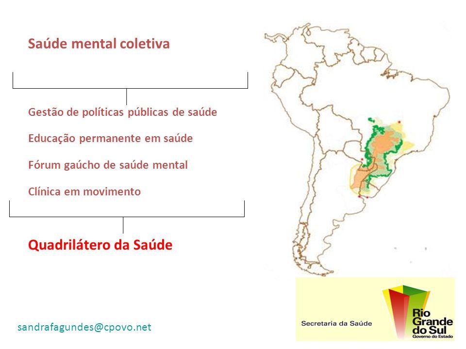Saúde mental coletiva Gestão de políticas públicas de saúde Educação permanente em saúde Fórum gaúcho de saúde mental Clínica em movimento Quadriláter