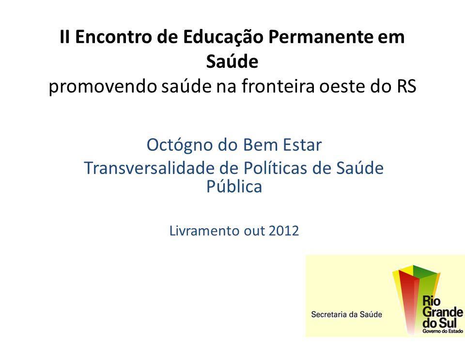 II Encontro de Educação Permanente em Saúde promovendo saúde na fronteira oeste do RS Octógno do Bem Estar Transversalidade de Políticas de Saúde Públ