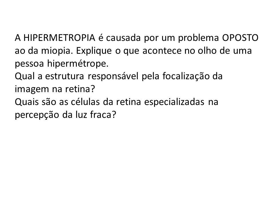 A HIPERMETROPIA é causada por um problema OPOSTO ao da miopia. Explique o que acontece no olho de uma pessoa hipermétrope. Qual a estrutura responsáve