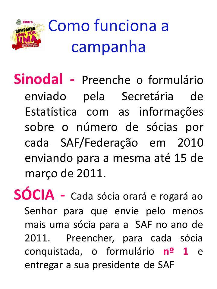 Como funciona a campanha Sinodal - Preenche o formulário enviado pela Secretária de Estatística com as informações sobre o número de sócias por cada S