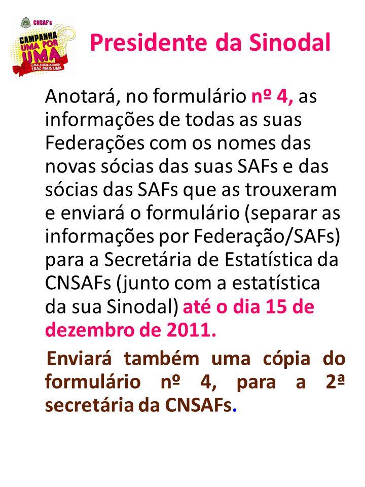 Presidente da Sinodal Anotará, no formulário nº 4, as informações de todas as suas Federações com os nomes das novas sócias das suas SAFs e das sócias