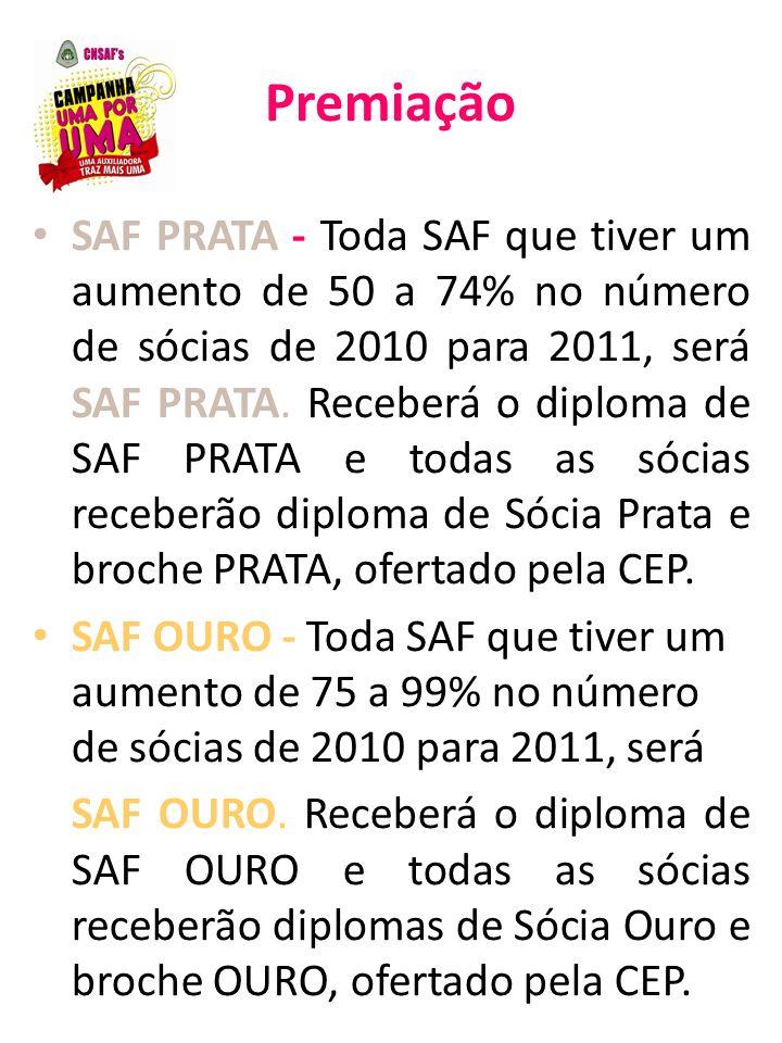 Premiação SAF PRATA - Toda SAF que tiver um aumento de 50 a 74% no número de sócias de 2010 para 2011, será SAF PRATA. Receberá o diploma de SAF PRATA