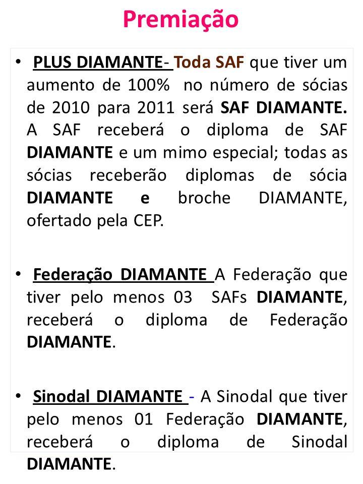 Premiação PLUS DIAMANTE- Toda SAF que tiver um aumento de 100% no número de sócias de 2010 para 2011 será SAF DIAMANTE. A SAF receberá o diploma de SA
