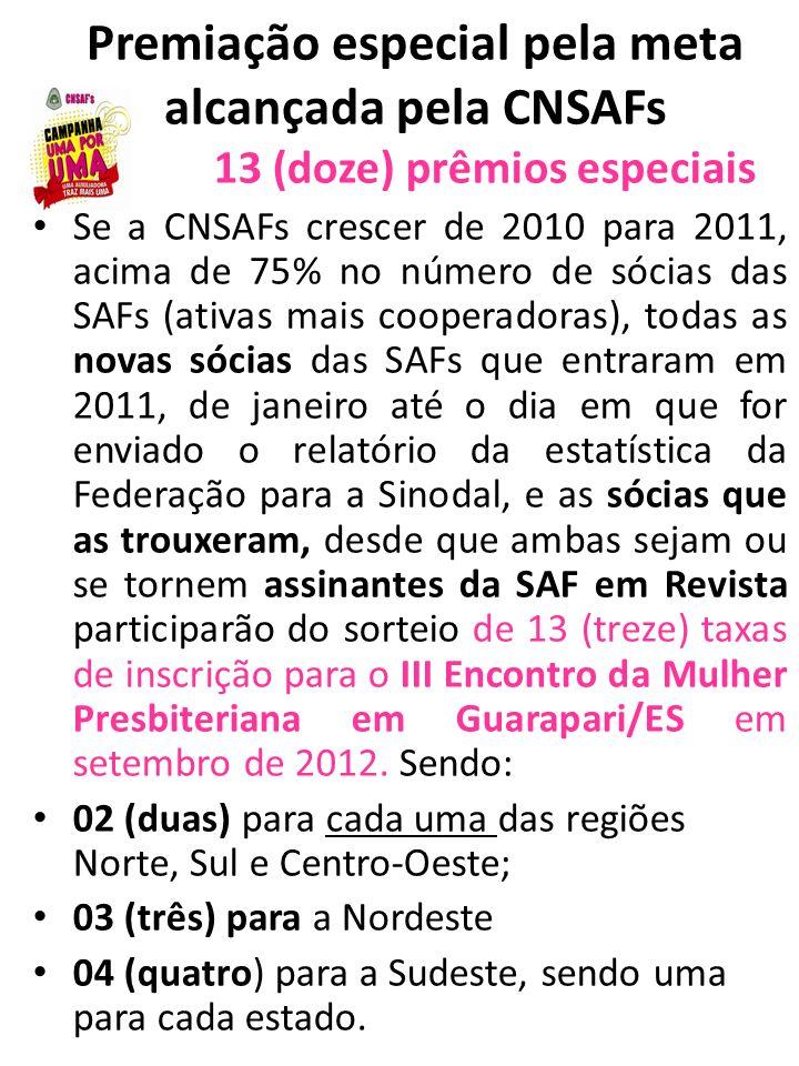 Premiação especial pela meta alcançada pela CNSAFs 13 (doze) prêmios especiais Se a CNSAFs crescer de 2010 para 2011, acima de 75% no número de sócias