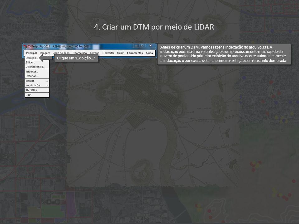 Primeiro, clique na aba Terreno para avaliar a exatidão do DTM.