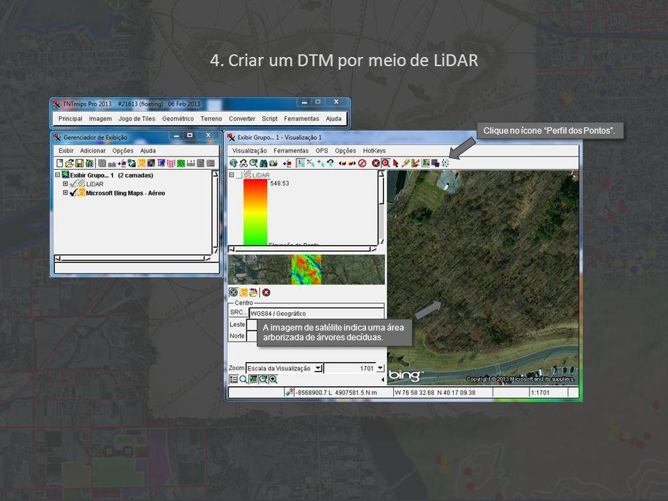 4. Criar um DTM por meio de LiDAR Clique no ícone Perfil dos Pontos.