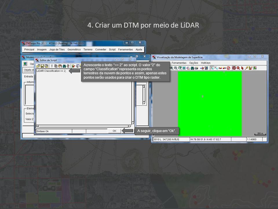 4. Criar um DTM por meio de LiDAR Acrescente o texto == 2 ao script.
