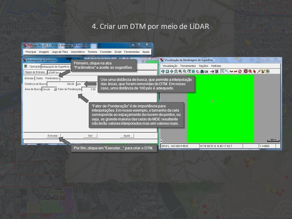 4. Criar um DTM por meio de LiDAR Primeiro, clique na aba Parâmetros e aceite as sugestões.