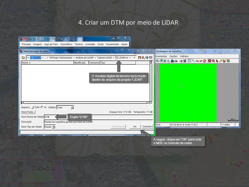 4. Criar um DTM por meio de LiDAR Digite DTM.