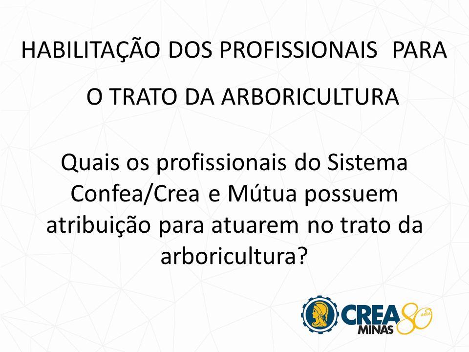 Quais os profissionais do Sistema Confea/Crea e Mútua possuem atribuição para atuarem no trato da arboricultura.
