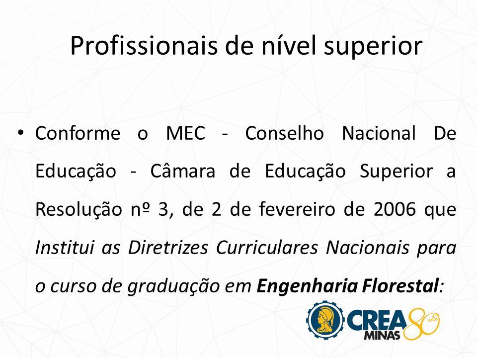 Conforme o MEC - Conselho Nacional De Educação - Câmara de Educação Superior a Resolução nº 3, de 2 de fevereiro de 2006 que Institui as Diretrizes Curriculares Nacionais para o curso de graduação em Engenharia Florestal: Profissionais de nível superior