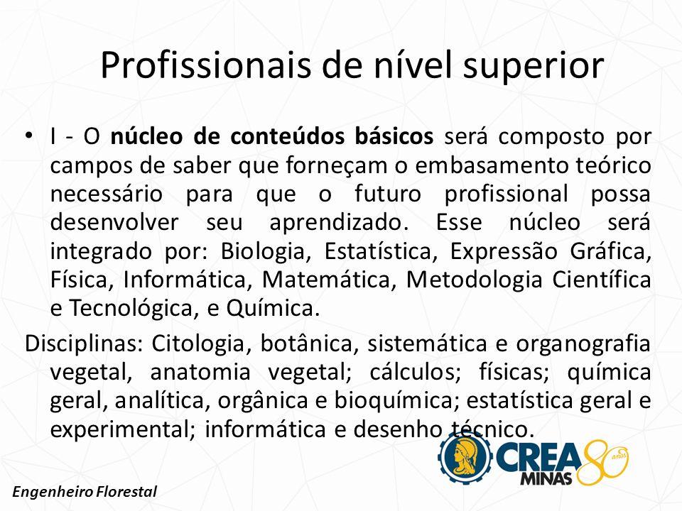 II - O núcleo de conteúdos profissionais essenciais será composto por campos de saber destinados à caracterização da identidade do profissional.