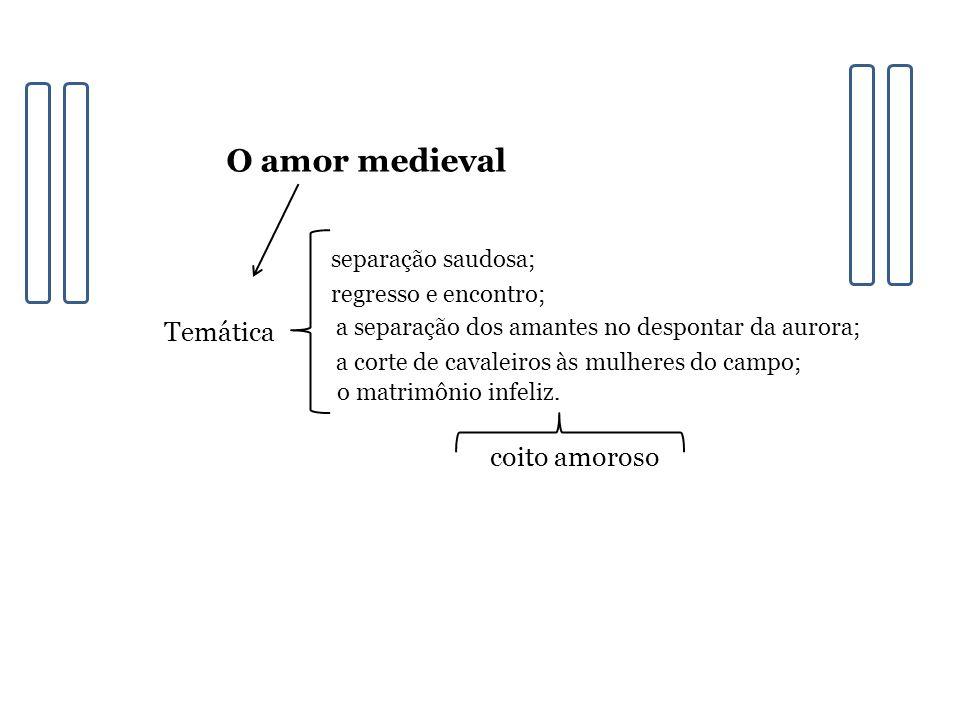O amor medieval Temática separação saudosa; regresso e encontro; a separação dos amantes no despontar da aurora; a corte de cavaleiros às mulheres do campo; o matrimônio infeliz.