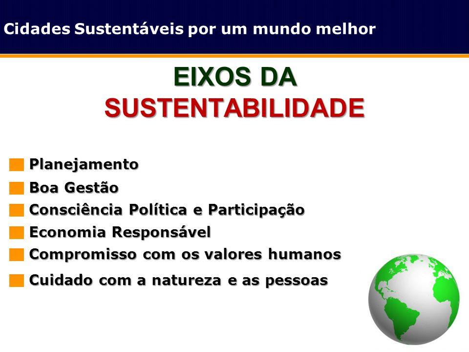 EIXOS DA SUSTENTABILIDADE Cidades Sustentáveis por um mundo melhorPlanejamento Boa Gestão Consciência Política e Participação Economia Responsável Com