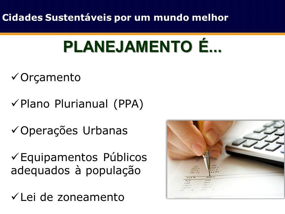 PLANEJAMENTO É... Cidades Sustentáveis por um mundo melhor Orçamento Plano Plurianual (PPA) Operações Urbanas Equipamentos Públicos adequados à popula