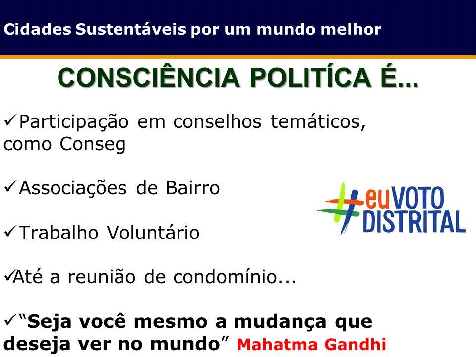 CONSCIÊNCIA POLITÍCA É... Cidades Sustentáveis por um mundo melhor Participação em conselhos temáticos, como Conseg Associações de Bairro Trabalho Vol