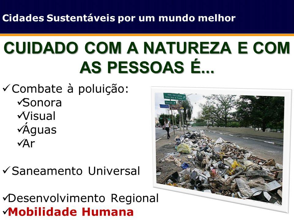 CUIDADO COM A NATUREZA E COM AS PESSOAS É... Cidades Sustentáveis por um mundo melhor Combate à poluição: Sonora Visual Águas Ar Saneamento Universal