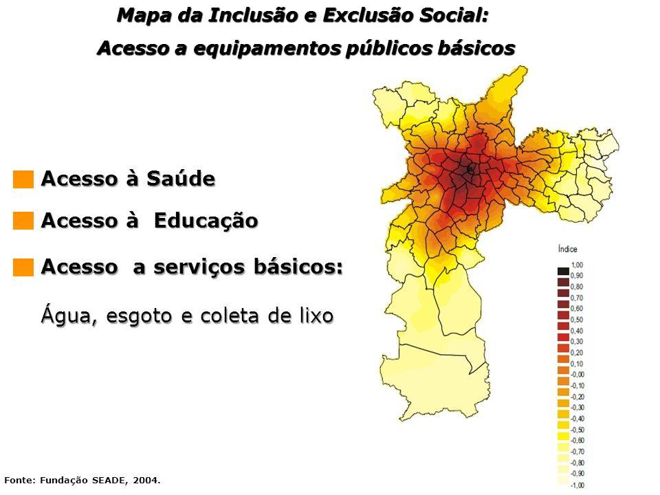 Fonte: Fundação SEADE, 2004. Mapa da Inclusão e Exclusão Social: Acesso a equipamentos públicos básicos Acesso a equipamentos públicos básicos Acesso